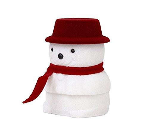 kingken 1PC Weihnachten Schneemann Samt Schmuck Display Aufbewahrungsbox Fall Geschenkbox (Red Hat) (Schneemann Weihnachts-display)