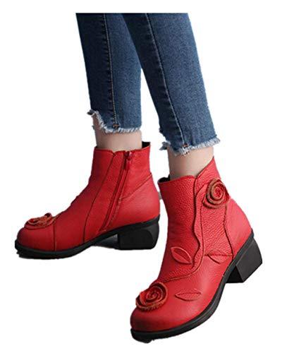 MYMYG Frauen ethnischen Stil Stiefel handgenäht Blumen Schuhe Leder Retro Stiefel Klassische Freizeitschuhe Kurzschaft Wildleder Stiefel Casual Ankle Boot (Schnelle Kostümideen Mädchen)