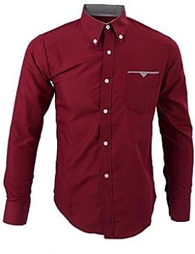 SODIAL (R) Moda di lusso Camicie T-shirt da Uomo a maniche lunghe casual slim fit vino rosso XXXL