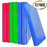 12 Stück Ringbuch 2 Ringe A4 in Verschiedenen Farben, Rücken 25 mm - Leicht, Flexibel & Weich - Premium Polypropylene Kunststoff - Büro und Schulgebrauch