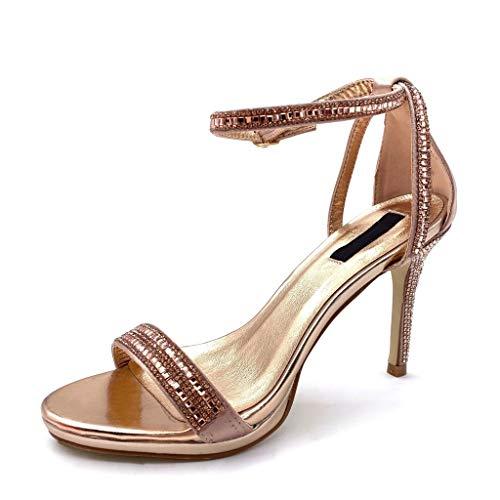 Angkorly - Damen Schuhe Pumpe Sandalen - Sexy - Stiletto - Offen - String Tanga - Strass Stiletto high Heel 10 cm - Champagner L6171 T 38 Sexy Strass Heels