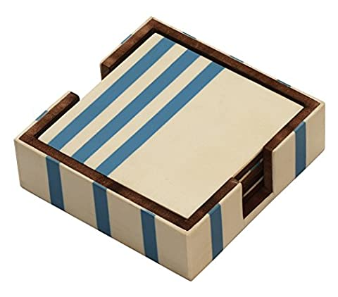 SouvNear Wooden Coaster Set of 4 with Holder - Drink Coasters & Holder - Carved Wood Square White & Blue Novelty Handmade Bar Beverage Dining Table Dining Centerpiece Decorative Accessories Coffee Tea