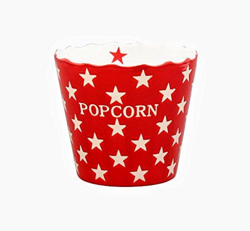 Krasilnikoff - Popcorn Schale, Schüssel - Rot mit weißen Sternen - Red Star- Keramik - Höhe: 16 cm - Popcorn, Schüssel