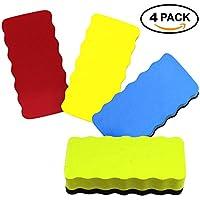 4 Pcs Colores Borradores Magnéticos para Pizarra Blanca - Calidad premium - Imán Fuerte Goma de Borrar - Ideal para Todas Bolígrafos, Marcadores y Tableros - para Uso en Hogar, Oficina y Escuela