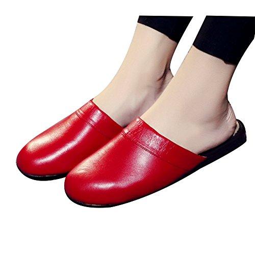 TELLW Pantoufles DAutomne en Cuir Intérieur en Bois Pantoufles Pour les Femmes Hommes Rouge
