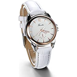 JewelryWe Birthday Gift Fashion White Leather Strap Quartz Wrist Watch for Girls Lady Women