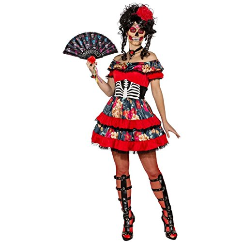 Amakando Sugar Skull Kleid Sexy Tag der Toten Kostüm M 38/40 La Catrina Damenkostüm Dia de los Muertos Outfit Karnevalskostüm Totenkopf Halloweenkostüm ()