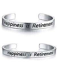 59d3d5074aee Vnox Happiness is Retirement Brazalete de Pulsera de Brazalete de Pareja  Regalo de Jubilación Divertido para Enfermera Compañeros de…