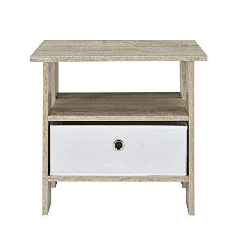 [en.casa] Comodino Tavolino d'appoggio (48 x 45 x 39 cm) impiallacciato (rovere) Cassetto contenitore in (Lampade Inoltre Legno Lampada Da Tavolo)
