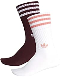 Adidas Solid Calcetines Mixta, Unisex Adulto, DH3361, Maroon/White/White/Tactile Rose, FR : XS (Taille Fabricant : 27-30)