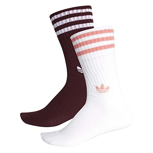 Adidas solid calzini unisex, unisex, dh3361, maroon/white/white/tactile rose, fr : s (taille fabricant : 31-34)