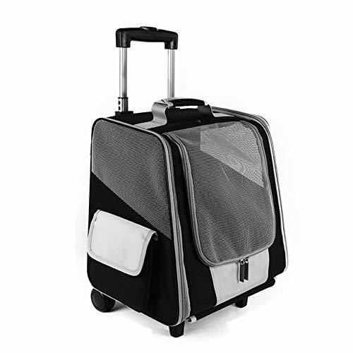WLDOCA Hundetrolley Transporttasche Tragetasche Für Tiere 2In1 Rucksack und Trolley 35X29x37 cm Schwarz