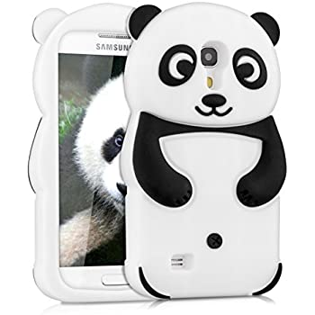 kwmobile Hülle für Samsung Galaxy S4 Mini i9190 / i9195 - TPU Silikon Backcover Case Handy Schutzhülle - Cover klar Panda Design Schwarz Weiß