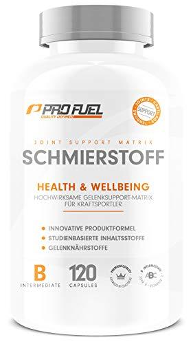 SCHMIERSTOFF | Hochwirksamer Support für Gelenke & Sehnen | U.a. mit Glucosamine, Weihrauch, Pinienrinde und Piperin | Das ORIGINAL von ProFuel | Monatspackung