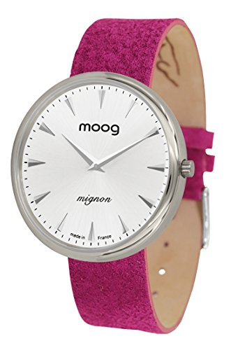 Moog Paris Mignon Women's Watch with Silver Dial, Pink Strap in Genuine Leather - M41681-C11