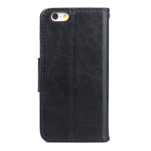 hyait® for iPhone 6/6S (4.7Zoll) Case Flip Leather Fold Wallet Card Slot Bracket Back Pouch Cover White schwarz