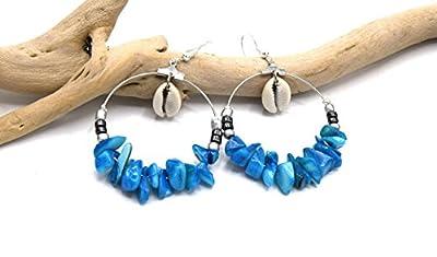 Créoles argent coquillage turquoise, bijoux d'été créole coquillage cauris