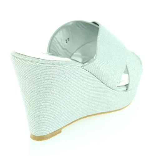 Frau Damen Kreuzgurt Keilabsatz Abend Party Lässig Täglich Komfort Sandalen Schuhe Größe Silber