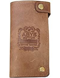 Abys 100% Real Hunter Leather Women Wallet//Credit Card Case//Long Wallet With 20 Card Slots