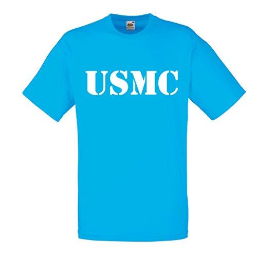 lepni.me Männer T-Shirt USMC Emblem, Marine Corps, Marines Logo, US Navy Armed Forces (Medium Blau Weiß) (Geschenk-logo-shirt Personalisierte)