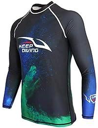 perfk Buceo Surf Traje de Pesca Submarina Top, Camiseta para Deportes Acuáticos - 2XL