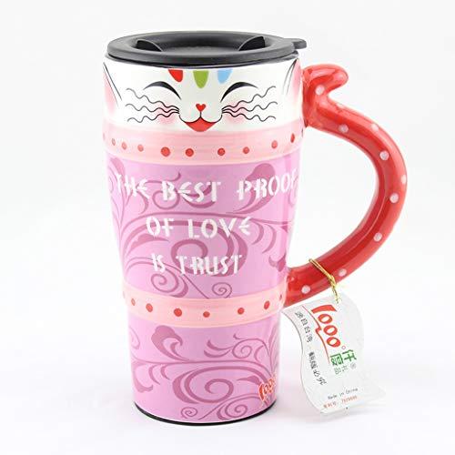 CJH Couple créatif tasse chat peint tasse animal mignon tasse avec couvercle avec cuillère tasse de café en céramique rouge