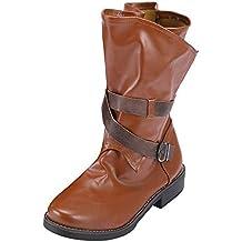 Logobeing Botas Militares Medianas Mujeres Hebilla Botines Zapatos de Retazos de Cuero Artificial