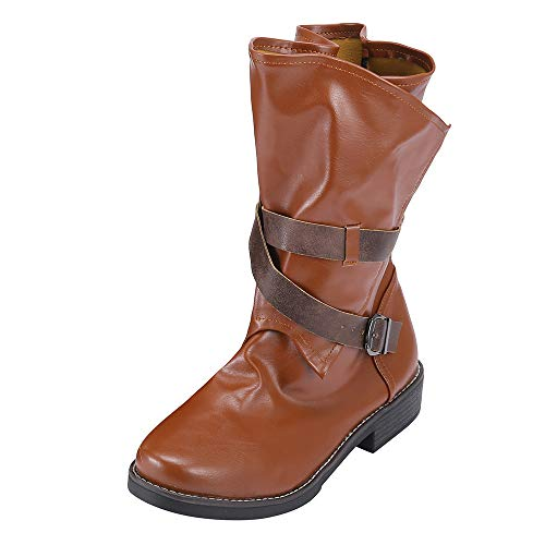 VJGOAL Damen Stiefel, Damen Mode Medium Military Stiefel Lässige Schnalle Kunstleder Patchwork Winter Schuhe (Braun, 37 EU)