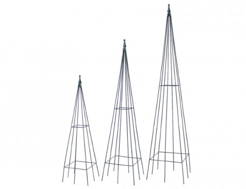 Siena Garden 543596 Rankpyramide Jonas 3-er Set, Metall, schwarz, eckig, 90/120/150 cm