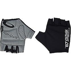 Spokey VINTAGE Guantes para ciclista unisex transpirables, adulto (unisex), mujer, hombre, color negro - negro, tamaño L