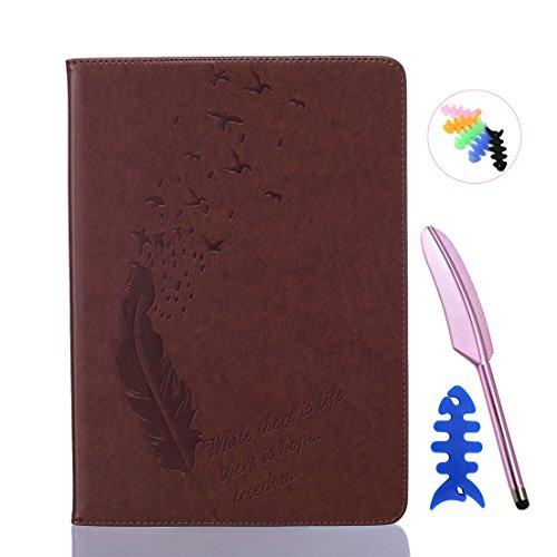 ANNN® iPad Air 2/iPad 6 Solide Drucken(Dayan Feather) PU Leder Flip Wallet Schutzhülle mit Magnetverschluss - Bookstyle Hülle mit Standfunktion und Kartenfach als stabiler Schutz--B06