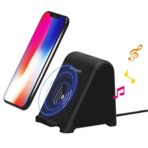 Sinbow Qi Cull-minded Wireless Charger Stereo Bluetooth 4.1 2 in 1 Lautsprecher und Kabelloser Ladestation Speaker 10W Drahtloser Aufladenstandplatz Charger for Samsung Galaxy S9 / S9 Profit/Note 8/ S8 / S8 Added 7,5W Compensation Wireless Charging für