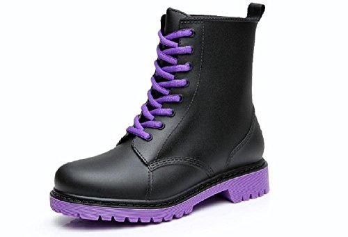 Grüne Aktivisten PVC Anti-Rutsch Frauen oder Mädchen Martin Regenstiefel black purple bottom