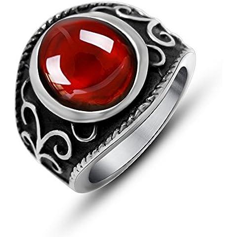 Ángel de Jade de titanio de acero inoxidable de los hombres de creado granate anillo antiguo de la vendimia