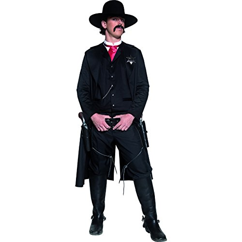 Authentische Western Kollektion Sheriff Kostüm mit Jacke Oberteil Fliege und Abzeichen, (Herren Kostüm Fliegen)