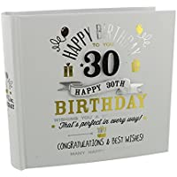 "30th Birthday Photo Album 4""x6"" Signography Black and Gold Design FL29930"