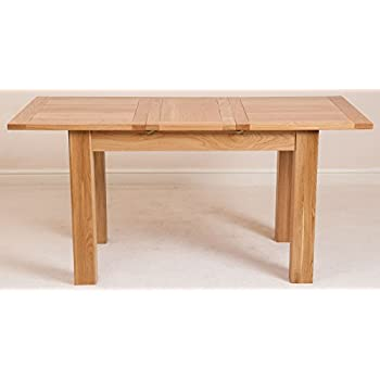 Hampton 120cm - 160cm Oak Extending Dining Table and 4 Chairs Dining Set with Lincoln Ladder Back Chairs