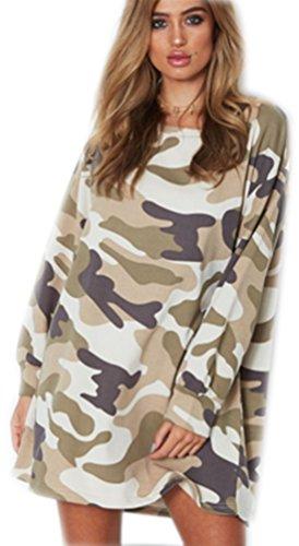 Sudaderas Largas Mujer Camuflaje Casual Manga Larga Sudaderas Chaqueta de Capa Jacket Moda Abrigos Señora Dama Pullover Impresion Vestidos Capa Tops Otoño Invierno Verde Claro XL