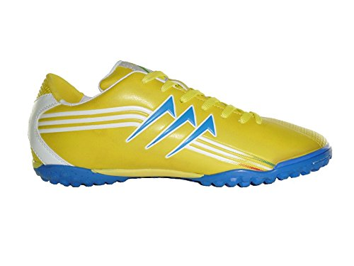 AGLA Professional New Five Outdoor Scarpe Calcetto Calcio a 5 Futsal GIALLO BIANCO BLUE