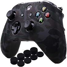 YoRHa Agua Transferir Impresión Camuflaje Silicona Cubrir la piel Caso para Xbox One X / One S Mando x 1 (gris) Con empuñaduras PRO x 8