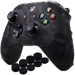 YoRHa Wassertransferdruck Silikon Hülle Abdeckungs Haut Kasten für Microsoft Xbox One X & Xbox One S controllerx 1 (grau) Mit PRO aufsätze Thumb Grips x 8