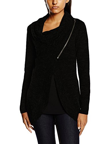 ONLY onlNEW HAYLEY L/S ZIP CARDIGAN KNT NOOS, Cardigan Donna, Nero (Black), 36 (Taglia Produttore: Small)