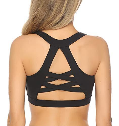 Aibrou Damen Sport BH, Sexy Bustier Yoga Sports-BH Bra Ärmelloses Trägershirt Top Push Up und Ohne Bügel - Mesh-spandex-sport-bh