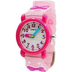 JNEW - Cute Watch Watchband for Girls Pricess Reloj para Niñas con Lazo 3D Estilo Dulce Lindo Reloj de Pulsera Infantil Resistente al Agua - Rosa