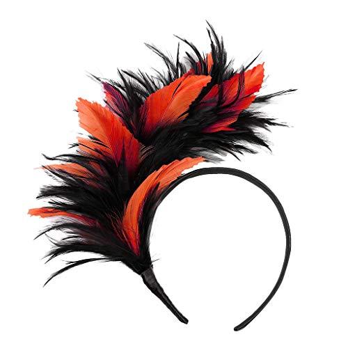 Dance Style Burlesque Kostüm - UEVOS Stirnband Damen Kopfband Flapper Straußenfeder Phantasie Headwear Vintage bunte Burlesque Headpiece Haarschmuck Tiara (Orange)