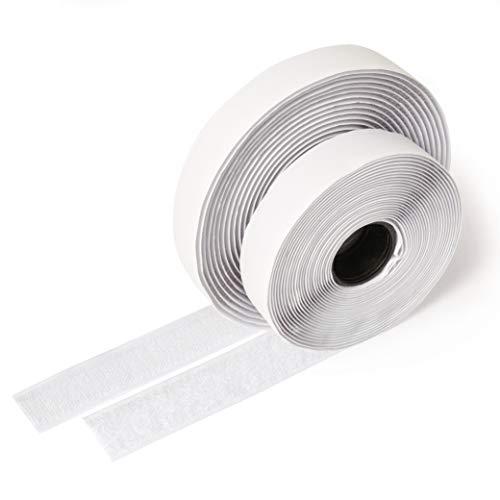 iLP Cinta de vector blanca autoadhesiva - 5 metros de largo aproximadamente, 20 mm de ancho - Fijación segura extra fuerte para el trabajo de bricolaje - 1 rollo de cinta de velcro y gancho