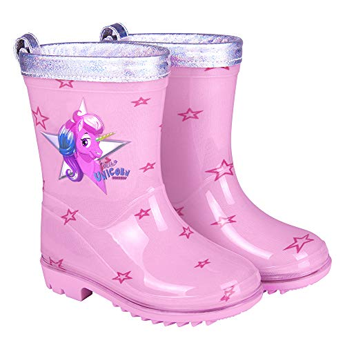 PERLETTI Unicorn Rain Boots for Girls - Waterproof Wellies Shoes with Anti Slip Outsole and Silver Border - Pink Wellington for Kids with Stars Print - Cool Kids