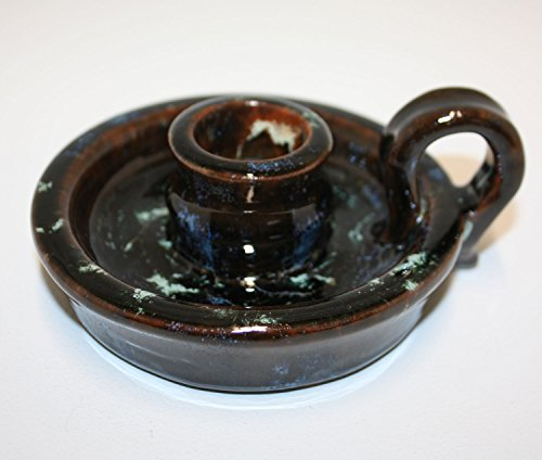 beautiful-candle-holder-with-brown-blue-and-green-flecked-glaze