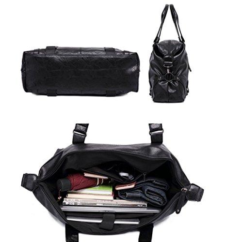 LAIDAYE Männer Gepäck Tasche Männer Tasche Computer Tasche PU Leder Tasche Reisetasche Schulter Tasche Fitness Tasche Messenger Bag Große Kapazität Tasche Black