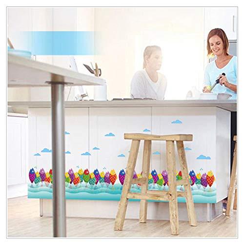 sjuims Cartoon Bunte Fische Klassenzimmer Kinderzimmer Sockelleiste Dekoration Wandaufkleber Schlafzimmer Wohnzimmer Wand Stickers40 * 136Cm